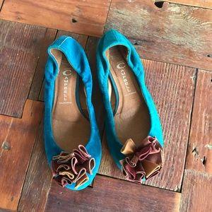 Jeffrey Campbell Yuki Turquoise Ballet Flat Suede